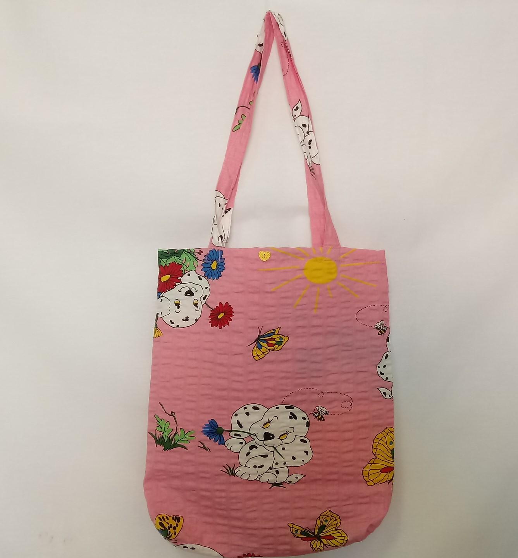 8f7ad8339b Textilní taška - bílý pes na růžové
